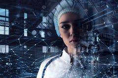 Innovatieve technologieën in wetenschap en geneeskunde Gemengde media Stock Foto's