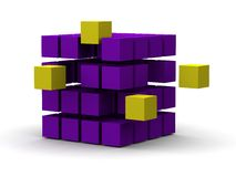 Innovation 3d cubes. Some shapes breaking away from the main group, showing change or influence Royalty Free Stock Photography