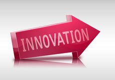 Innovation 3D shape arrow. Innovation 3D arrow in red colors and isolated Stock Photo