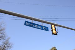 Innovation Drive Avenue. Innovation is the act of creating something new, creative or groundbreaking Royalty Free Stock Images