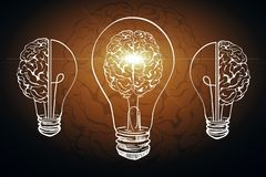 Innovation and AI backdrop. Creative glowing lamp brain on black backdrop. Innovation and AI concept. 3D Rendering royalty free illustration