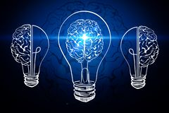 Innovation and AI background. Creative glowing lamp brain on black background. Innovation and AI concept. 3D Rendering stock illustration