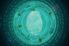 Innovation and biometrics concept. Abstract circular tech pattern with thumb print and binary code. Innovation and biometrics concept. 3D Rendering Stock Photography