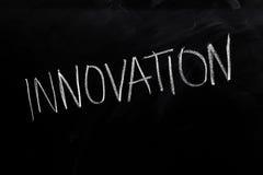 Innovation on Blackboard. Handwritten chalk text Innovation on the blackboard Stock Photos