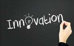 Innovation. This is a board with innovation sign stock photos