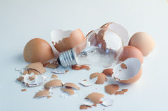 Innovation Bright Ideas Light Bulb Hatching From Egg Shell Royalty Free Stock Photo
