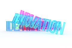 Innovation, business conceptual colorful 3D rendered words. Illustration, positive, artwork & style. Innovation, business conceptual colorful 3D rendered words stock illustration