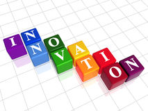 Innovation in colour. 3d colour boxes with text - innovation, word Royalty Free Stock Images