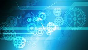 Innovation Computer Data Cogs Technology Banner Background. stock illustration