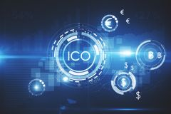 Innovation concept. Abstract glowing digital currency button ICO initial coin offering on virtual digital electronic user interface. Innovation concept. 3D Royalty Free Stock Photos