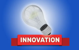 INNOVATION concept with banner and light bulb. Colorful Innovation concept with red text banner and 3d rendered domestic light bulb with a glow around it over a Royalty Free Stock Images