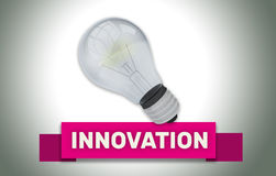 INNOVATION concept with banner and light bulb. Innovation concept with red text banner and 3d render illustration of domestic light bulb with a glow around it Stock Photos
