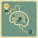 Innovation concept. Brain light bulb. Flat retro Stock Photos
