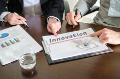 Innovation concept. Business people meeting about innovation royalty free stock photo