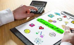 Innovation concept on a clipboard vector illustration