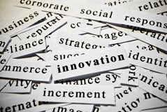Innovation. Concept of cutout words related with business. Royalty Free Stock Photography