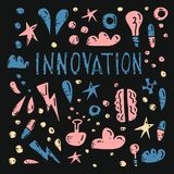 Innovation concept in doodle style. Vector design. royalty free illustration