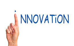 Innovation Concept - female hand with blue text royalty free stock photography