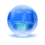 Innovation concept with glossy globe. On white background stock illustration