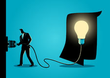 Innovation Concept Illustration. Concept illustration of a businessman puts plug in the socket to light up the brain vector illustration