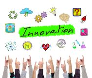 Innovation concept pointed by several fingers royalty free illustration