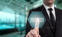 Innovation concept presented by a consultant in management on webinar screen Stock Images