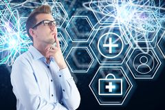 Innovation concept. Thoughtful male doctor on abstract digital medical interface background. Innovation concept. 3D Rendering stock illustration