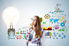 Innovation concept. Thoughtful young woman standing on gray wall background with creative business sketch. Innovation concept. 3D Rendering Royalty Free Stock Image
