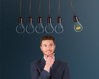 Innovation Concepts Light Bulb over Human Head Royalty Free Stock Photo