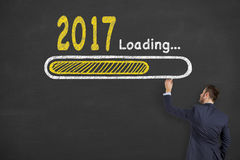 Innovation Concepts Loading New Year 2017 on Chalkboard Background. Working Stock Images