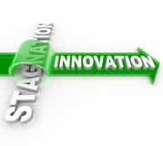 Innovation contre la stagnation - modification et statu quo Image stock