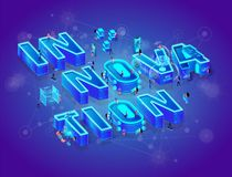 Innovation 3d Neon Isometric Word, Little People vector illustration