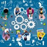 Innovation de planification de démarrage d'entreprise de fonctionnalité de stratégie concentrée Photos libres de droits