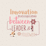 Innovation distinguishes between leader ang follower business quotes. Vector Royalty Free Stock Photos
