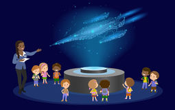 Innovation education elementary school african brown skin black hair group of kids planetarium science spaceship hologram on space Stock Photo