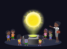 Innovation education elementary school african brown skin black hair group kids planetariun science sun. hologram on Stock Image