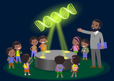 Innovation education elementary school learning technology - group of kids to molecule of DNA. hologram on biology lesson future m Stock Photography