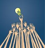 Innovation entrepreneurs struggling for an original idea. Cartoon illustration of competitors struggling for original idea or lightbulb Royalty Free Stock Photos