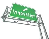 Innovation Freeway Road SIgn Leads to Progress Change. A green metal freeway sign with arrow pointing to Innovation as the road to change leads to future royalty free illustration