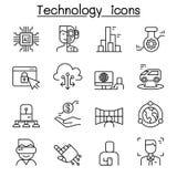 Innovation, future icône de technologie réglée dans la ligne style mince illustration libre de droits