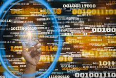 Innovation futuristic digital data binary code background technology and finger touch hologram icon, Concept of retaining big data. And internet of things for stock photography