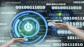 Innovation futuristic digital data binary code background technology ,with Switch on-off and hand holding seedlings, Concepts. Technology development to stock image