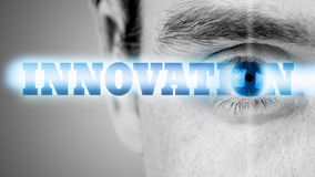 Innovation. Futuristic image with word Innovation using human eye as the letter o