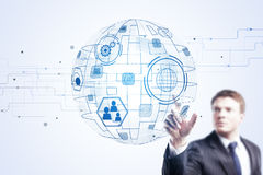 Innovation, global communication and infograph concept Stock Photos