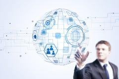 Innovation, global kommunikation och infographbegrepp Arkivfoton