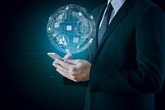 Innovation, global kommunikation och teknologibegrepp Arkivfoton