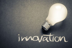 Innovation. Glowing light bulb with Innovation word Stock Photo