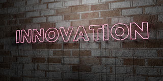 INNOVATION - Glowing Neon Sign on stonework wall - 3D rendered royalty free stock illustration. Can be used for online banner ads and direct mailers royalty free illustration