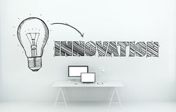 Innovation hand drawn concept in office 3D rendering Royalty Free Stock Photo