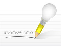 Innovation handwritten with a lightbulb pencil Royalty Free Stock Image